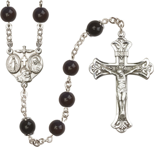Image of  8mm Black Capped Our Father  Rosary