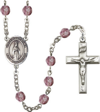Our Lady Fatima  Amethyst  6mm Beads Sterling Silver  Rosary