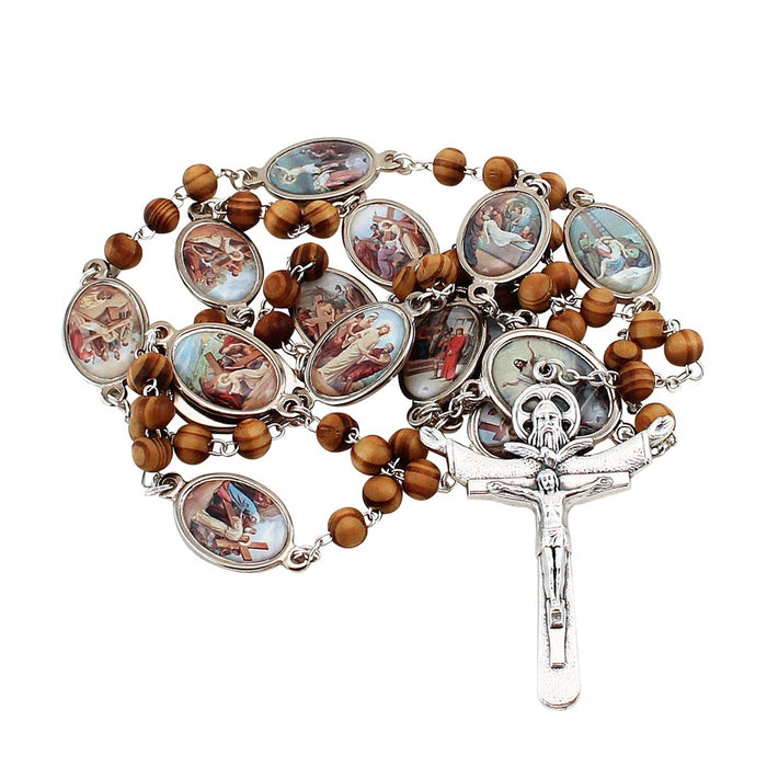 New Stations Of The Cross Olive Wood Rosary. $6 OFF Limited Time ONLY!