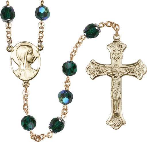 14KT Gold Filled Swarovski Emerald Aurora Borealis 8mm Crystal Rosary