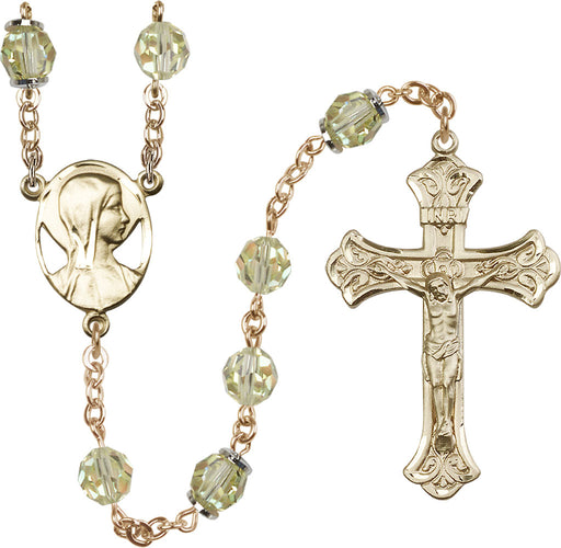 14KT Gold Filled Swarovski Jonquil Aurora Borealis 8mm Crystal Rosary