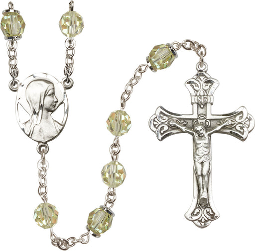 Sterling Silver Swarovski Jonquil Aurora Borealis 8mm Crystal Rosary