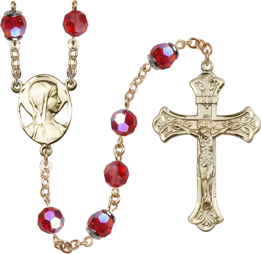 14KT Gold Filled Swarovski Ruby Aurora Borealis 8mm Crystal Rosary