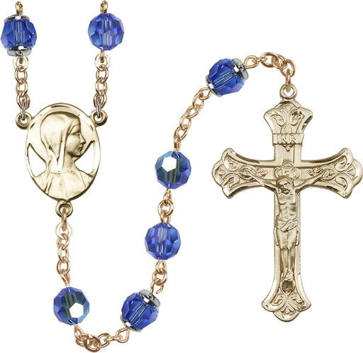 14KT Gold Filled Swarovski Sapphire Aurora Borealis 8mm Crystal Rosary