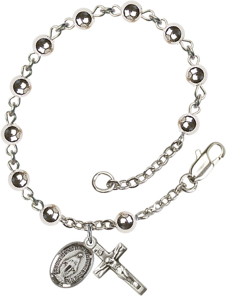 Sterling Silver Rosary Bracelet - 4mm Silver Beads