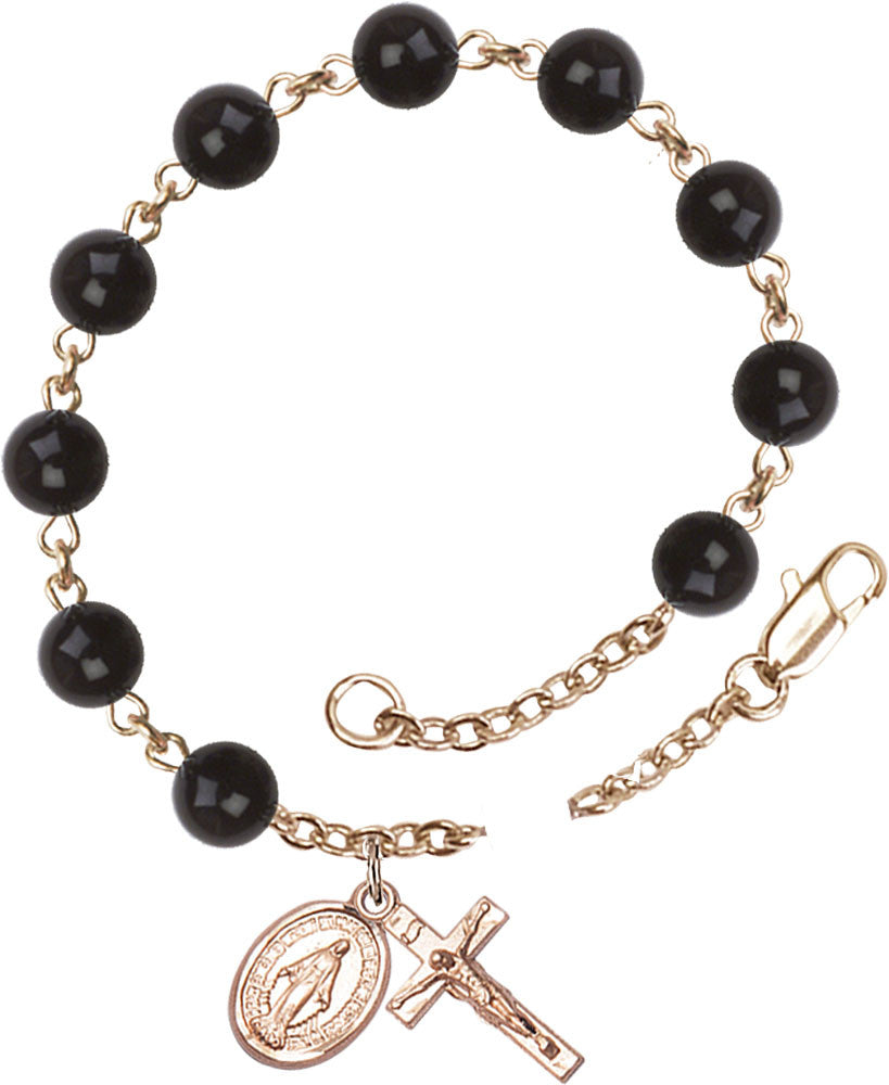 black_precious_stone_gold_filled_rosary_bracelet
