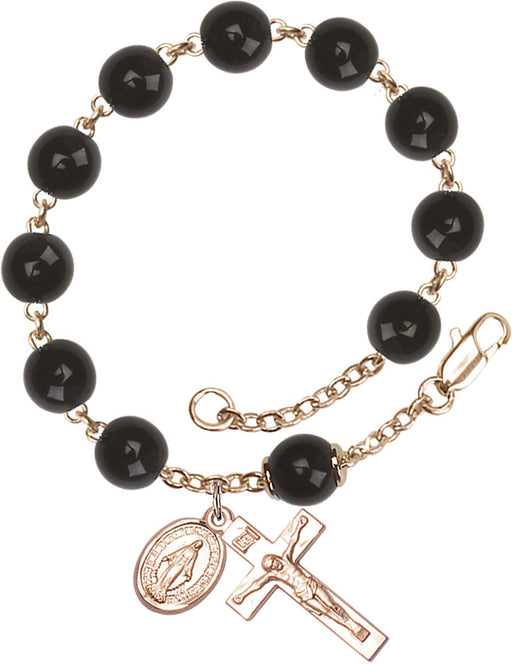 black_our_father_gold_rosary_bracelet