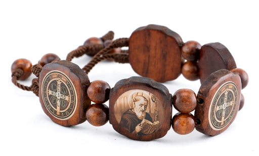 St. Benedict Brown Wooden Bracelet