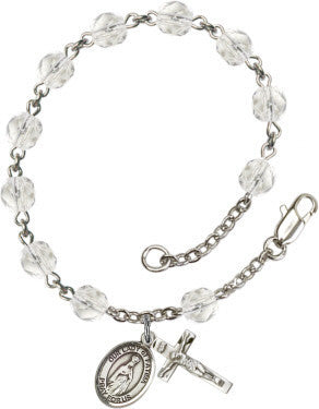 Our Lady of Fatima 6mm Crystal Fire Polished Rosary Bracelet