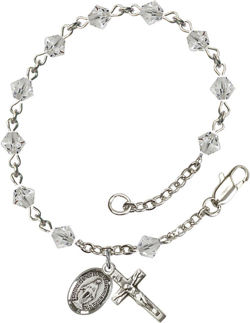 5mm Crystal Swarovski Rundell-Shaped Sterling Silver Rosary Bracelet