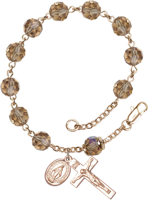 topaz_our_father_gold_rosary_bracelet