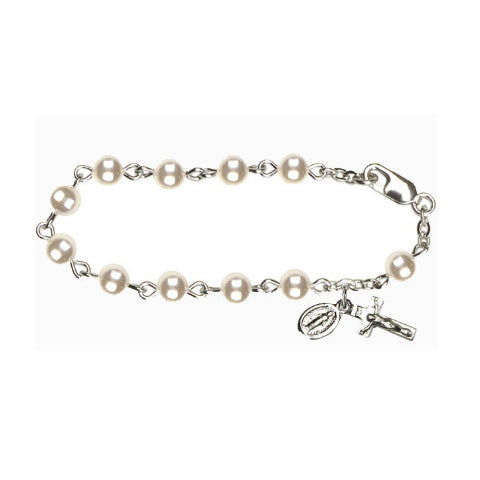 Infant Rosary Bracelet - Faux Pearl Sterling Silver