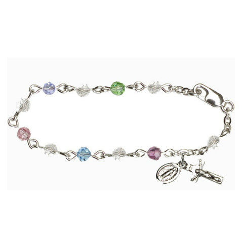 Infant Rosary Bracelet - Multi-Color Swarovski Sterling Silver