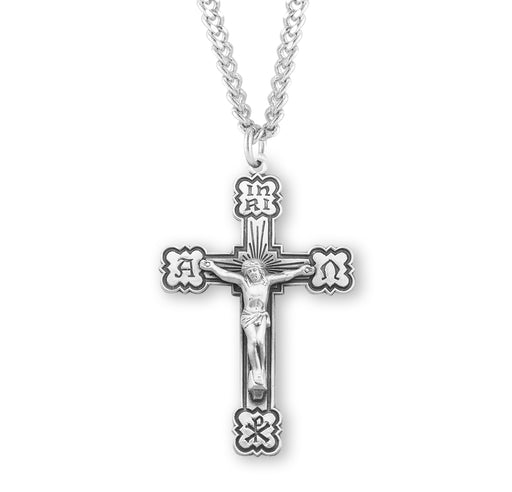 Alpha and Omega Sterling Silver Crucifix Pendant
