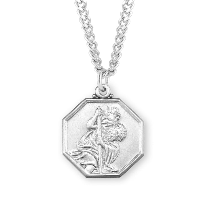 Sterling Silver Octagon shaped St. Christopher Medal