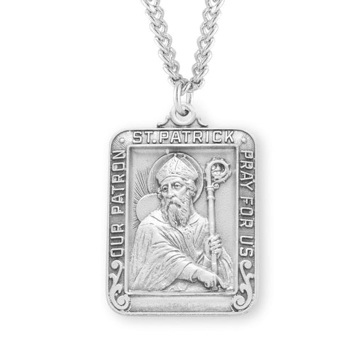St. Patrick Sterling Silver Square Medal