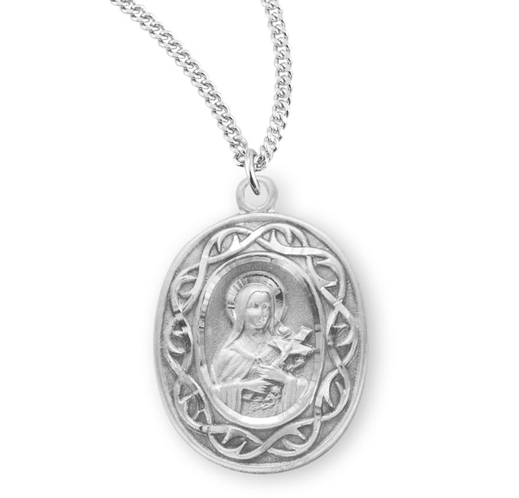 Sterling Silver St. Therese Medal with Carmelite Back