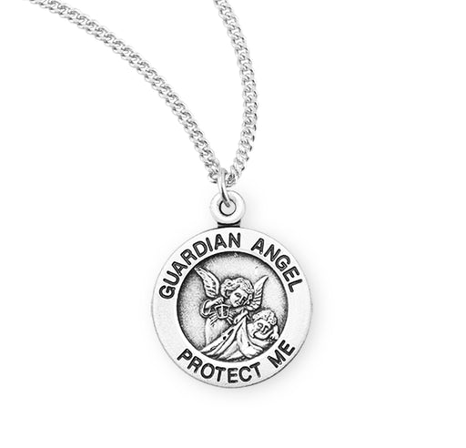Sterling Silver Round Guardian Angel Baby Medal
