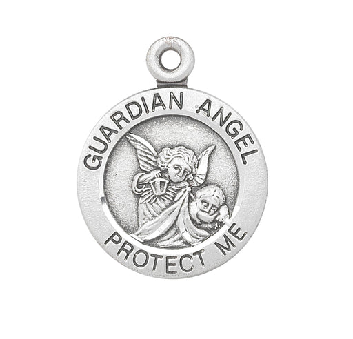 Guardian Angel Sterling Silver Round Baby Medal