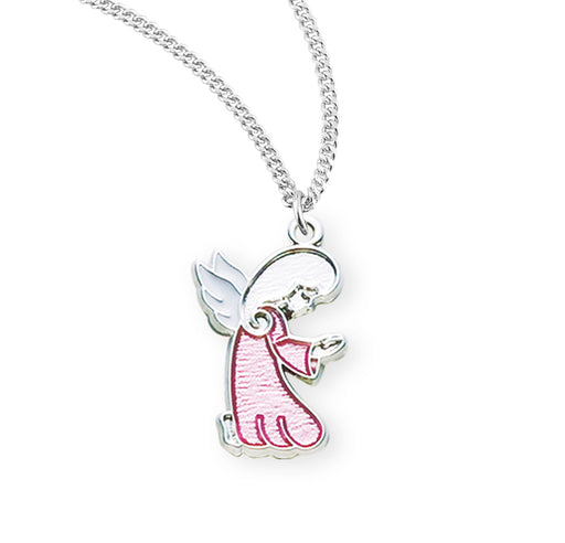 Sterling Silver Pink Enameled Guardian Angel Baby Medal