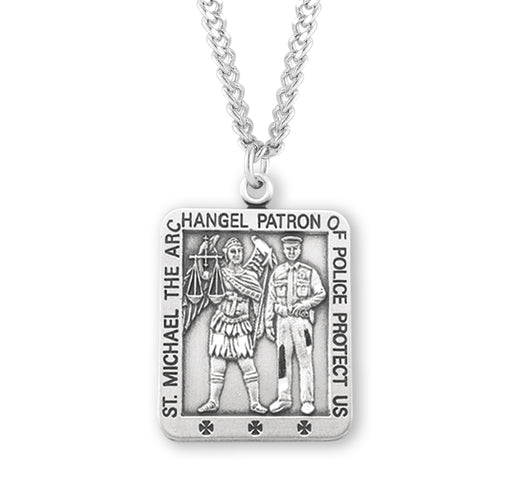 St. Michael Sterling Silver Square Police Medal