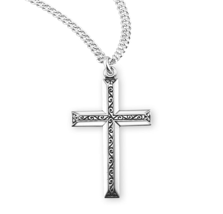 Sterling Silver Cross with Black Enamel