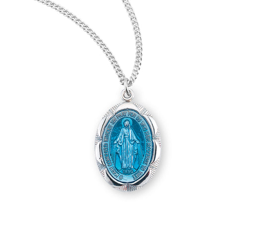 Miraculous Sterling Silver Blue Enameled Medal