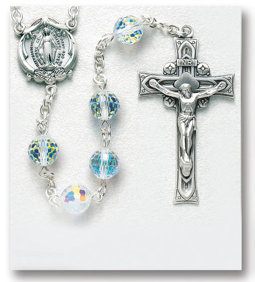 96 Facet Round Aurora Sterling Rosary