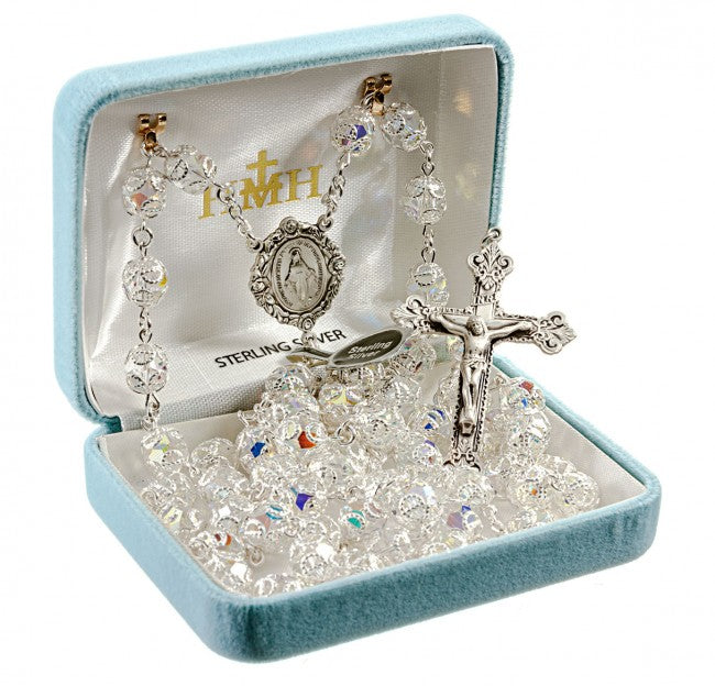 Crystal Double Capped Sterling Silver Rosary