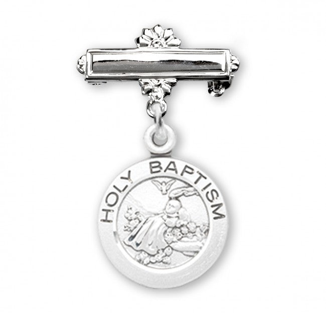 Holy Baptism Sterling Silver Round Baby Medal on Bar Pin