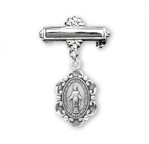 Miraculous Sterling Silver Oval Scalloped Edge Baby Medal on Bar Pin