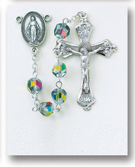 Image Of Metallic Multi Color Helix Crystal Sterling Rosary