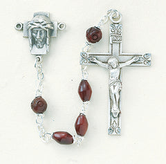 Image Of Maroon Oval Coco Sterling Rosary