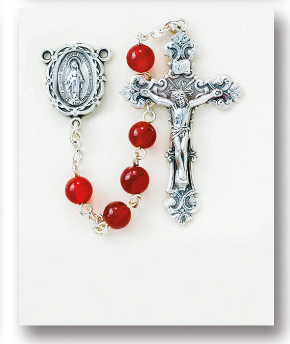round_red_agate_sterling_rosary