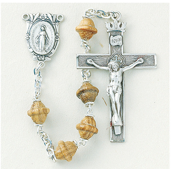 walnut_bicone_sterling_rosary