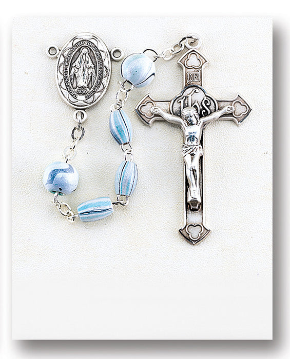 Aqua Oval Striped Italian Wood Sterling Rosary
