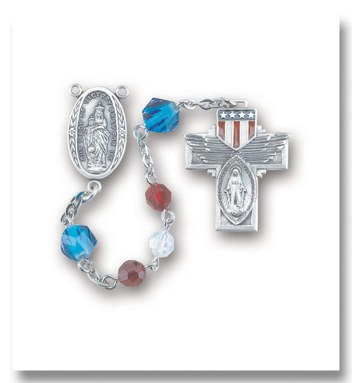 Red and White Opal Swarovski Crystal Bead Military Rosary