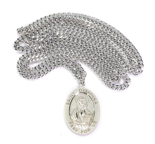 St. Dymphna Sterling Silver Oval Medal