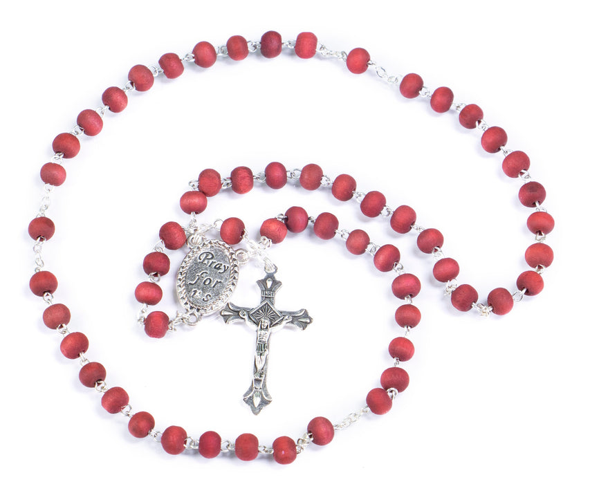 St. Michael Rosary - Rose Petal Wood Scented Beads