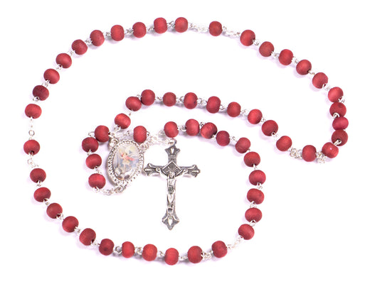 All New St. Michael Rosary - Rose Petal Wood Scented Beads $2 OFF