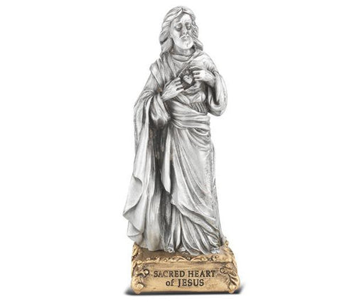 Sacred Heart of Jesus Pewter Statue on Base