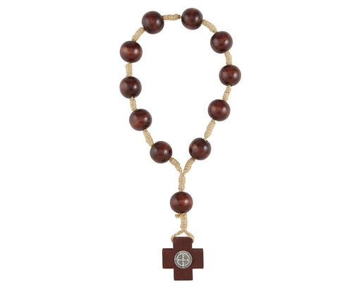 St. Benedict One Decade Door Knob Brown Bead Rosary