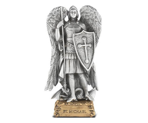 "St. Michael 4 1/2"" Pewter Statue on Base"