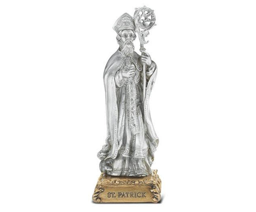 "St. Patrick 4 1/2"" Pewter Statue on Base"
