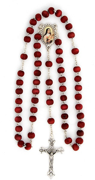 St. Therese of Lisieux Rosary - Rose Petal Wood Scented Beads