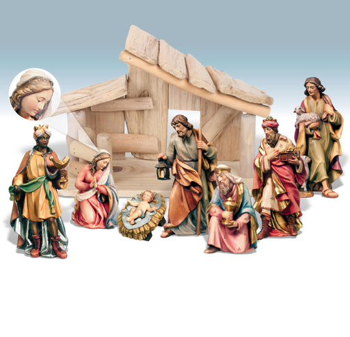 Wood Carved Nativity Scene From Dolfi - 8 Piece Set