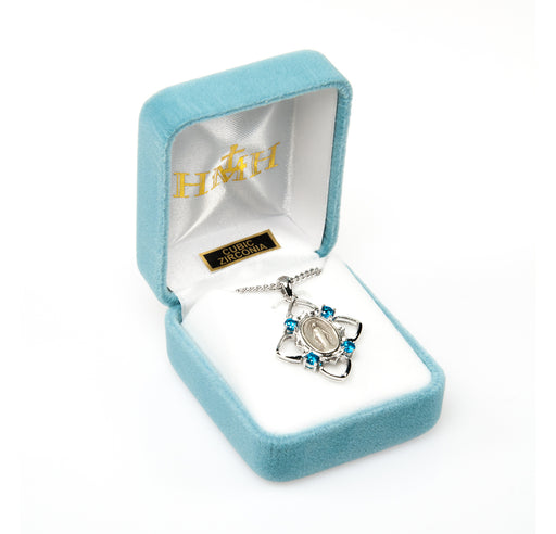 Miraculous Sterling Silver Aqua Cubic Zircon Heart Framed Medal