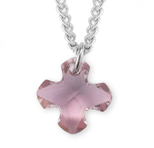 Swarovski Crystal Antique Pink Greek Cross Pendant