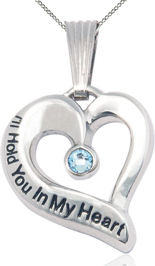 Sterling Silver Engraved Heart Birthstone Pendant - Aqua