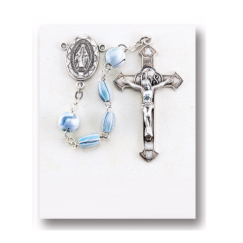 Sterling Silver Rosary - Aqua Oval Striped Italian Wood Beads